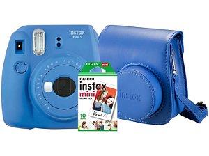 KIT Camera FUJI INSTAX  MINI 9 AZUL Cobalto + bolsa + 10 poses