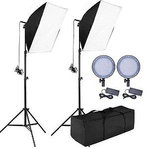 Kit Iluminação Luz Contínua Softbox com Led Circular 45W Dimmer para Estúdio (Bivolt)