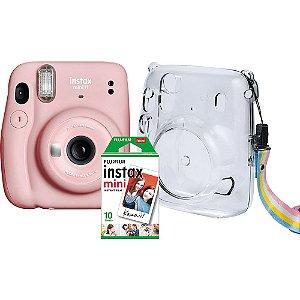 Kit Câmera Instantânea FujiFilm Instax Mini 11 Rosa + Bolsa Crystal + Pack 10 Fotos Instantâneas