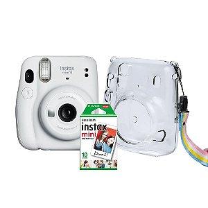 Kit Câmera Instantânea FujiFilm Instax Mini 11 Branca + Bolsa Crystal + Pack 10 Fotos Instantâneas