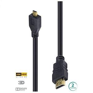 CABO HDMI 2.0 PARA MICRO HDMI 4K ULTRA HD 3D CONEXAO ETHERNET 2 METROS - H20MC-2