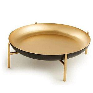 Centro De Mesa Mart Preto E Dourado Em Metal - 6x20cm
