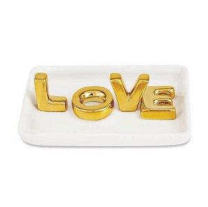 Porta-Joias Love Mart Em Cerâmica 4x13x9cm