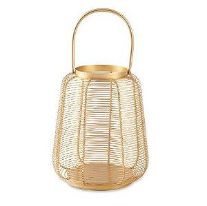 Lanterna Mart Dourada Em Metal - 27x23cm