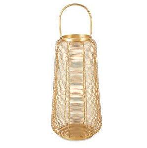 Lanterna Mart Dourada Em Metal - 45x24cm