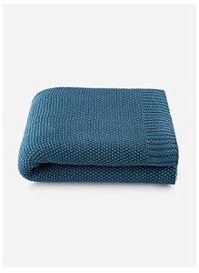 Manta Tricô By The Bed 100% Algodão - 125x150 Cm - Azul - Loom
