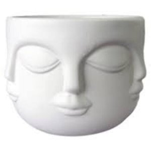 Cachepô Em Cerâmica Face Branco - BTC