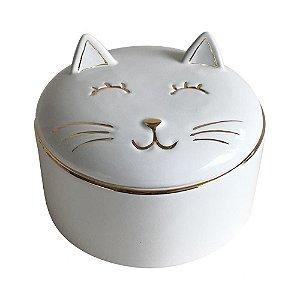 Pote De Cerâmica Gato Branco E Dourado - BTC