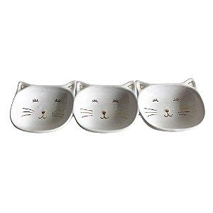 Petisqueira Tripla Gatinho Em Cerâmica Branco/Dourado - BTC