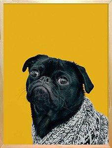 Quadro Amarelo Cachorro Pug - Quadrum & Art