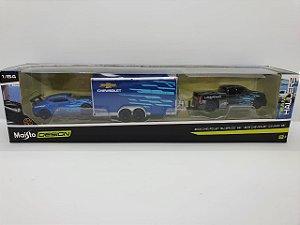 Kit Maisto - Chevrolet Silverado SS 2004 e Chevrolet Camaro SS 2016 com Trailer - Escala 1/64