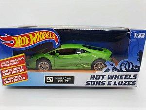 Miniatura Lamborghini Huracan Coupe Verde - Hot Wheels - Escala 1/32 C/ Luz e Som