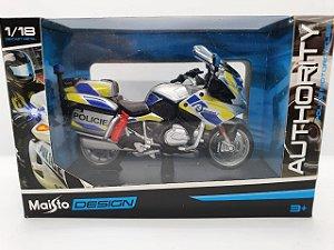 Miniatura BMW R 1200 RT - Versão Policia  Rep. Tcheca- 1/18 - Maisto Authority Police Motorcycles