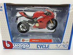 Miniatura Ducati Panigale V4 Vermelha - Escala 1/18 - Bburago Cycle