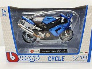 Miniatura Kawasaki Ninja ZX-10R - Escala 1/18 - Bburago Cycle