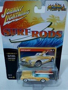 Miniatura Corvette 1958 - Linha Surf Rods - Johnny Lightning - Escala 1/64
