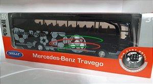 Miniatura Onibus Mercebes Benz Futebol Escala 1/60 em Metal