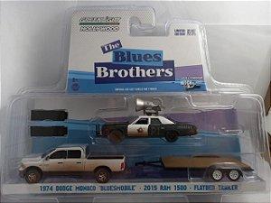 Miniatura Dodge Ram 1500 2015 + Monaco 1974 + Trailer The Blue Brothers