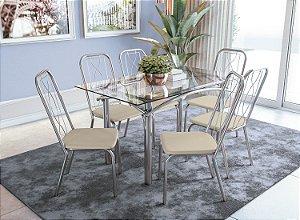 Conjunto de Mesa Elba 06 Cadeiras Viena - CR16