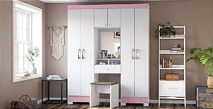 Roupeiro B78 6 Portas - Branco / Rosa