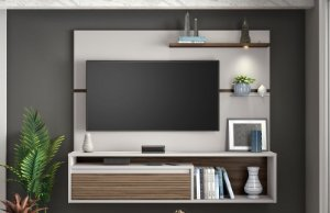 Painel NT1090 Cor Off White/ Nogal Trend