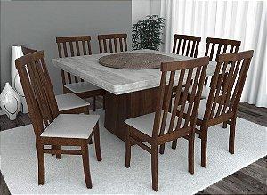 Conjunto de Mesa Quadrada com Base Giratória 08 Cadeiras Classic