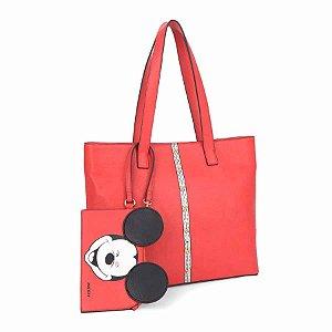 Bolsa de ombro listra com necessaire - Mickey Disney