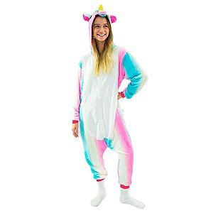Pijama macacão Kigurumi - Unicórnio colorido