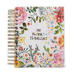 Caderno floral glitter com pasta