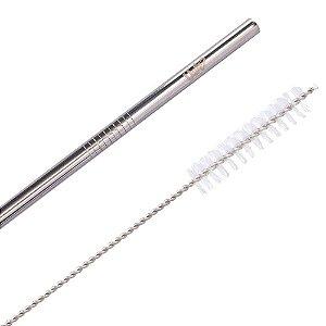 Kit canudo metálico prata com limpador
