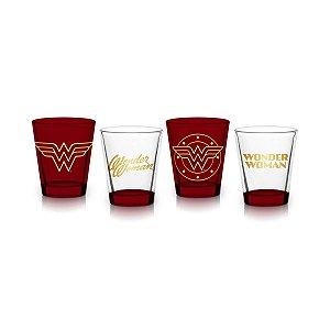 Conjunto 4 copos de shot - Mulher Maravilha