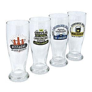 Kit com quatro copos Munich  - Frases de buteco