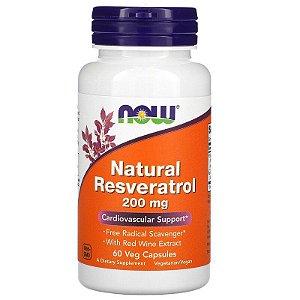 Resveratrol Natural 200 mg, Now Foods, 60 Cápsulas Vegetais