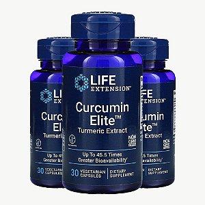 Kit 3x Curcumin Elite, Extrato de Cúrcuma, 30 Cáps, Life Extension