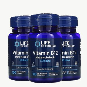 Kit 3x Vitamina B12, Life Extension, 500 mcg, 100 Capsulas