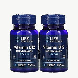 Kit 2x Vitamina B12, Life Extension, 500 mcg, 100 Capsulas