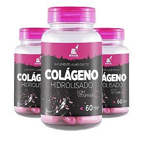 Kit 3x Colágeno Hidrolisado C/ Vitamina C 60 Capsulas