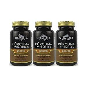Kit 3x Cúrcuma com Vitamina C 60 cápsulas de 650 mg