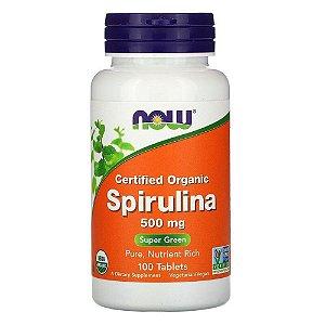 Spirulina Orgânica Certificada, Now Foods, 500 mg, 100 Comp