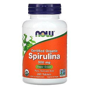 Spirulina Orgânica Certificada, Now Foods, 500 mg, 200 Comp