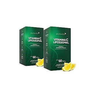 Kit 2x Vitamina C Lipossomal Pura Vida 1100mg 60 Cáp