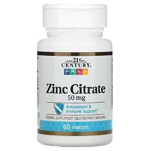 Citrato de Zinco,  50 mg, 21st Century, 60 caps, Importado