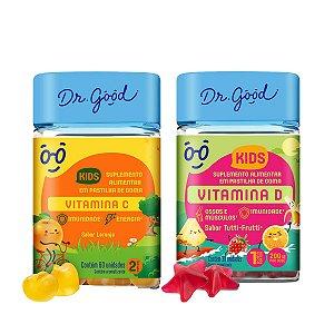 Combo Vitamina C 60 Gomas  + Vitamina D 30 Gomas Kids DrGood