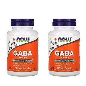 Kit 2x Gaba, Now Foods, 500 mg, 100 Cápsulas Vegetais