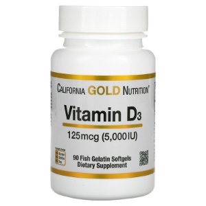 Vitamina D3, 125 mcg (5.000 UI), Gold Nutrition 90 Capsulas