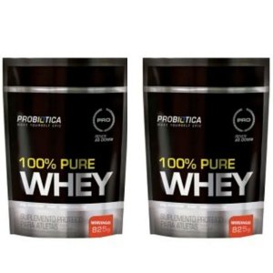 Combo 2x 100% Pure Whey Morango Refil 825grs - Probiotica