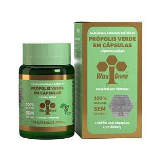Própolis Verde Extrato Seca 300mg 100 Cápsulas Waxgreen