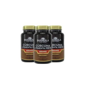 Combo 3x Cúrcuma com pimenta preta 60 cáps de 650mg-Shambala