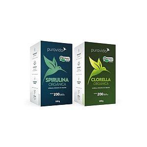 Combo 2x Kit Super Algas Clorella + Spirulina Pura Vida