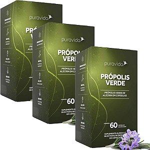 Kit 3x Própolis Verde-60 Cáps.-250mg-pura Vida